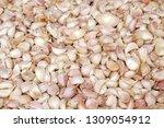 fresh raw garlic on the market...   Shutterstock . vector #1309054912
