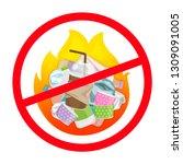 symbol ban of waste burnt ... | Shutterstock .eps vector #1309091005