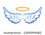 Angel Wings Icon With Nimbus  ...