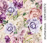 seamless floral pattern with... | Shutterstock . vector #1309100572