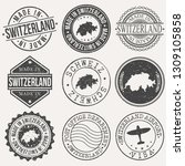switzerland set of stamps.... | Shutterstock .eps vector #1309105858