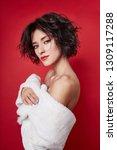 sexy woman with short hair cut...   Shutterstock . vector #1309117288