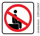 no sitting icon drawing by... | Shutterstock .eps vector #1309122865