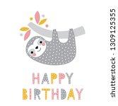 birthday card with a cartoon... | Shutterstock .eps vector #1309125355