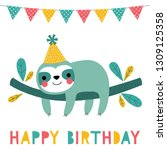 birthday vector card with a... | Shutterstock .eps vector #1309125358