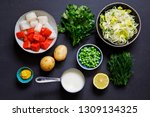 fish pie ingredients on black... | Shutterstock . vector #1309134325