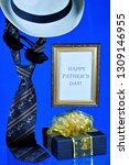 happy father's day tie  hat and ... | Shutterstock . vector #1309146955