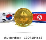 bitcoin with south korea flag... | Shutterstock . vector #1309184668