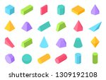 isometric shapes. 3d geometric... | Shutterstock .eps vector #1309192108