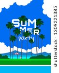 summer party poster with palm... | Shutterstock .eps vector #1309221385