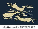 Stock vector vector card with hand drawn running hares made with ink beautiful easter illustration animal 1309229572