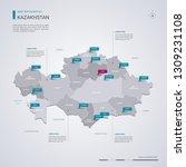 kazakhstan vector map with... | Shutterstock .eps vector #1309231108