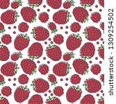 raspberry seamless pattern....   Shutterstock .eps vector #1309254502