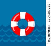 life buoy on the wavy lines... | Shutterstock .eps vector #1309257292