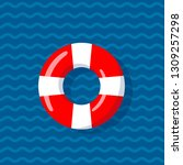 life buoy on the wavy lines... | Shutterstock .eps vector #1309257298