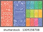 calendar 2020. vector english... | Shutterstock .eps vector #1309258708