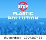 stop plastic ocean pollution... | Shutterstock .eps vector #1309267498