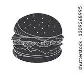 hamburger vector illustration.... | Shutterstock .eps vector #1309268995
