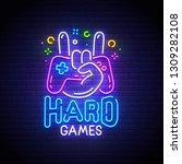 hard games neon sign  bright... | Shutterstock .eps vector #1309282108