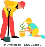 father and son planting a tree. ...   Shutterstock .eps vector #1309282852