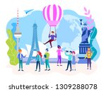 travel concept. tourists walk ... | Shutterstock . vector #1309288078