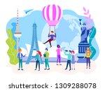 travel concept. tourists walk ...   Shutterstock . vector #1309288078