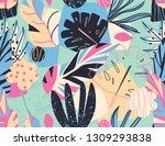 modern exotic jungle plants... | Shutterstock .eps vector #1309293838