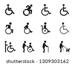 disabled handicap icons set ... | Shutterstock . vector #1309303162