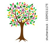 colorful deciduous tree with... | Shutterstock .eps vector #1309311175