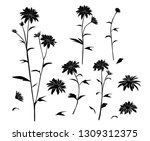 set of silhouettes flowers... | Shutterstock .eps vector #1309312375