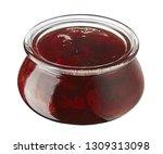 strawberry jam in glass jar... | Shutterstock . vector #1309313098