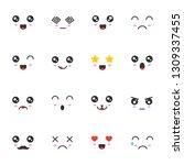 vector set of cute faces kawaii....   Shutterstock .eps vector #1309337455