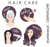 hair care routine steps... | Shutterstock .eps vector #1309341298
