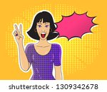 pop art smiling woman showing... | Shutterstock .eps vector #1309342678