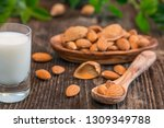 almond milk with almond on a... | Shutterstock . vector #1309349788