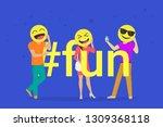 hashtag fun concept flat vector ... | Shutterstock .eps vector #1309368118
