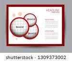 landscape wide flyer template.... | Shutterstock .eps vector #1309373002