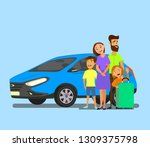 happy family near the car with... | Shutterstock .eps vector #1309375798