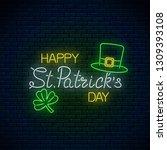 neon glowing sign of happy st....   Shutterstock .eps vector #1309393108