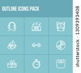 healthy icon set and earphone...