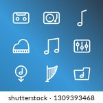 audio icon set and lyre with...