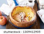 dutch baby pancake with apples  ... | Shutterstock . vector #1309412905