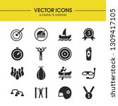 activity icons set with boat ...