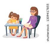 mother  helping her daughter...   Shutterstock .eps vector #1309417855