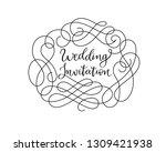 wedding invitation frame card... | Shutterstock .eps vector #1309421938