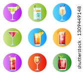 set of nine rounded images... | Shutterstock .eps vector #1309449148