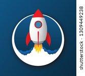 rocket launch vector icon  ... | Shutterstock .eps vector #1309449238