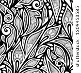 monochrome seamless pattern...   Shutterstock .eps vector #1309453585