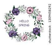 wreath with anemones flowers ... | Shutterstock .eps vector #1309458292
