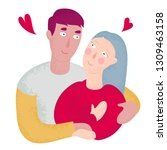 young couple in love  the guy... | Shutterstock .eps vector #1309463158